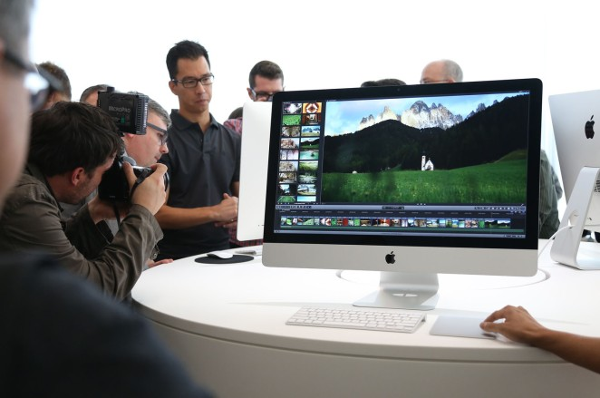 A new 27 inch iMac computer is seen follownig a presentation at Apple headquarters in Cupertino